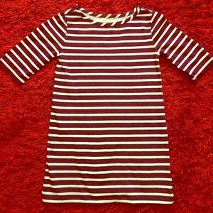 Old Navy 4t Maroon & White Striped Dress
